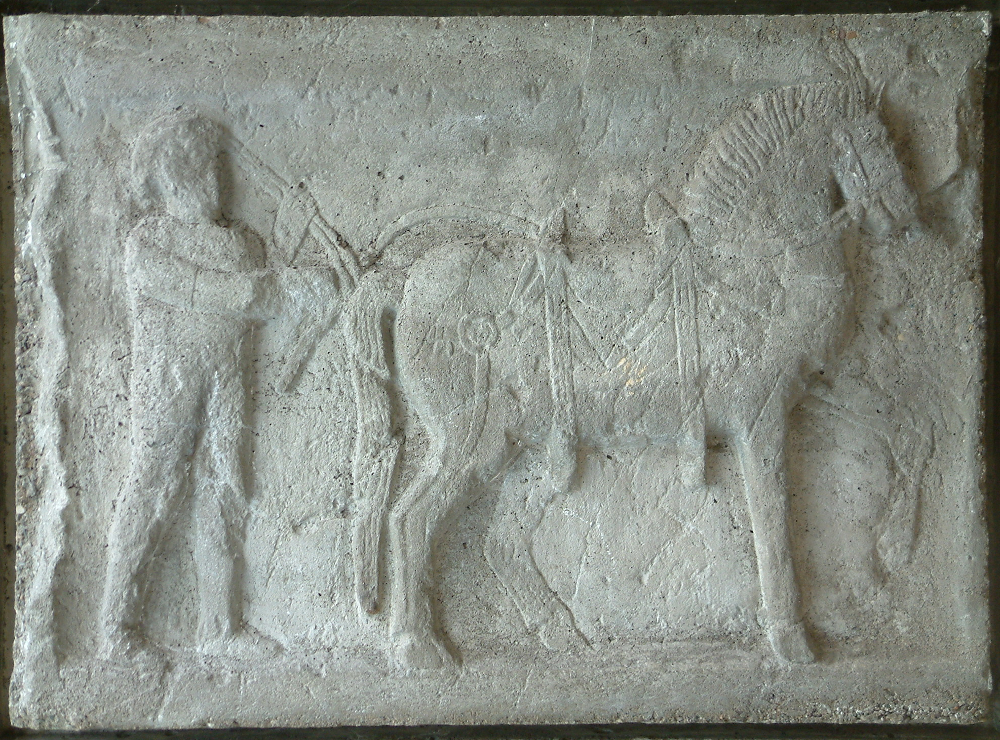 Mahlrelief / Reiter mit Pferd
